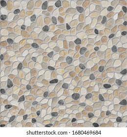 Background with stones on the floor.Pebbles in cement