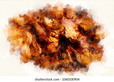 background structure of oak leaves and compuet painting effect.