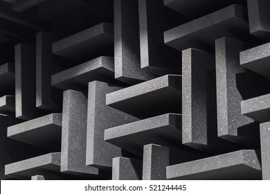 Background of studio sound dampening acoustical foam and LED light. Music room. Soundproof room. Low key photo.