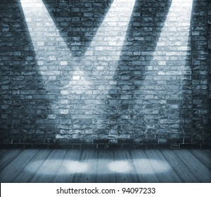 Background in style grunge. Interior shined with projectors