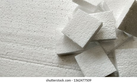 background Styrofoam falls apart on Styrofoam