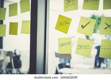 Background of successful smart business man and women team up for structure idea generate. They are planning strategy for creative business idea using post it and note