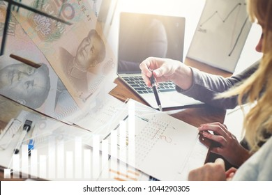 Background of successful smart businessman and women team up for analysis financial strategy investment. They are professional business project investment consulting for asia emerging market China