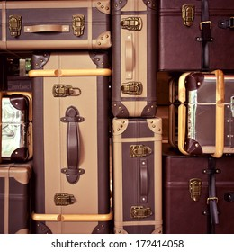 background with suitcases