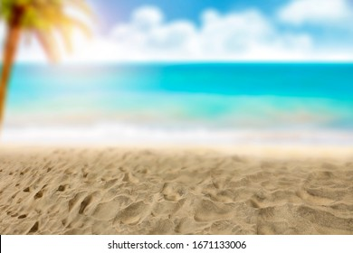Background of summer sand and blurred landscape of beach.Free space for your decoration.