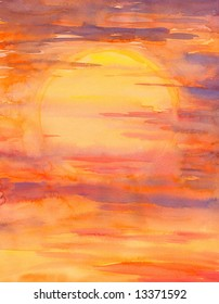 Background with sun set watercolor painted.