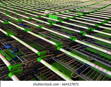 Background of supermarket shopping trolleys, Dorset, June 2017, editorial