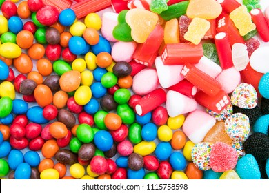 background of sweets and candies of varied colors