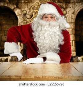 background of table and santa home interior with glasses wooden table