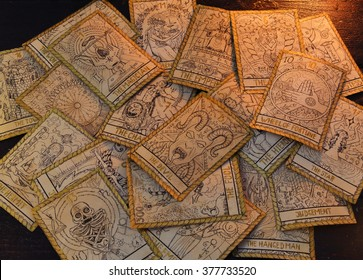 Background with the tarot cards. Halloween and magic still life, fortune telling seance or black magic ritual with mysterious occult and esoteric symbols, divination rite