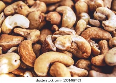 Background of tasty roasted cashew nuts