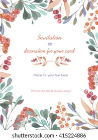 Background, template postcard with a floral ornament of the watercolor green branches and red berries, hand drawn in a pastel on a white background, background for your card and work