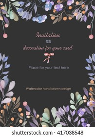 Background, template postcard with a floral ornament of the watercolor branches and berries, hand drawn in a pastel on a dark background, background for your card and work