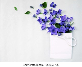 background for text or greetings for mothers day or birthday ,top view spring flowers floral frame ,flat lay