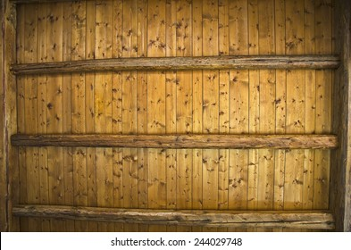 Background texture of ceiling made out of wooden beams.