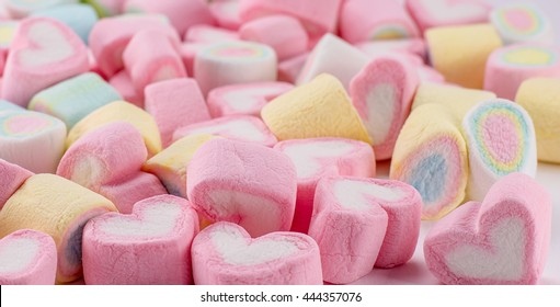 Background or texture of colorful mini marshmallows.