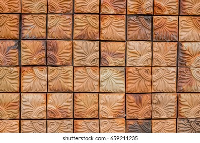 background and texture of decorative red brick wall pattern