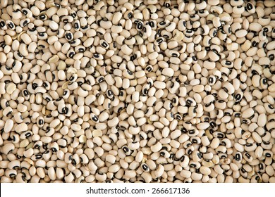 Background texture of dried black-eyed peas or beans, Vigna unguiculata, or cowpea, with a spoonful in a wooden spoon, grown as a staple nutritional crop, as animal fodder and to enrich soil