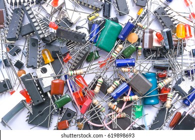 Background texture of electronic components ( IC Chip, Transistors, Capacitors, Resistors, Diodes)