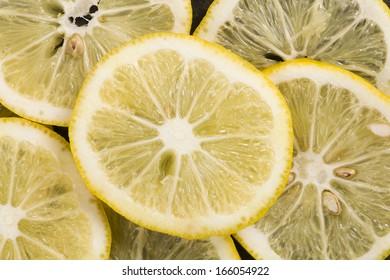 background texture  of fresh yellow lemon slices