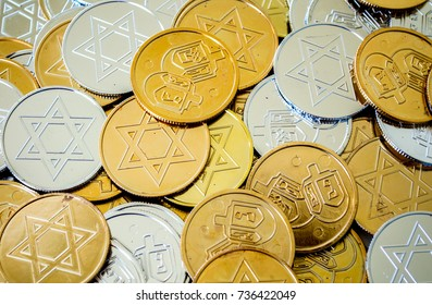 background texture full frame close up of colorful Hanukkah coins