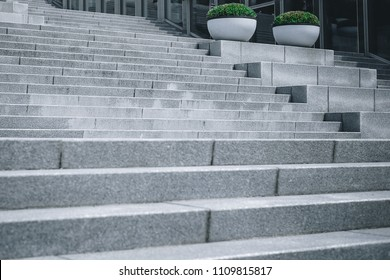 a background texture image of a beautiful loft architecture design big wide gray concrete stone stairs way structure  decorated with two round small tree bush in a famous woman university in Seoul