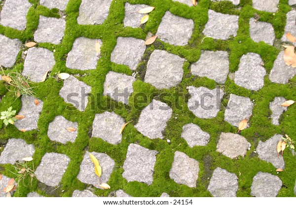 A background texture image of cobblestone with moss.