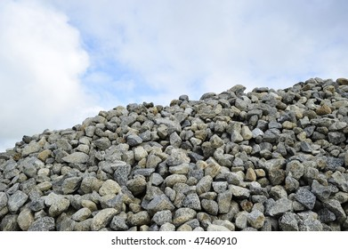 Background or Texture image: Pile of medium sized rocks used in construction