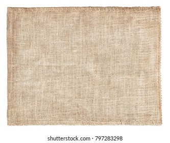 Background and texture of natural brown Sackcloth with Stitches Seam isolated on white background and with clipping path.