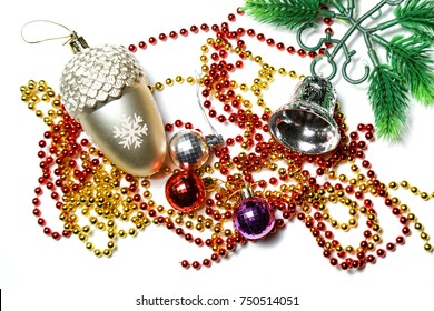 Background, texture New Year, Christmas, New Year's Toys, Christmas tree decorations