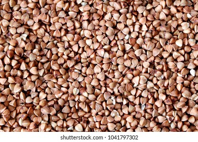 Background, texture, the rump of Buckwheat. Useful properties of buckwheat. Garnish. Ingredient, product, cook. Brown. Agribusiness, crop, organic farming. Dietary product.