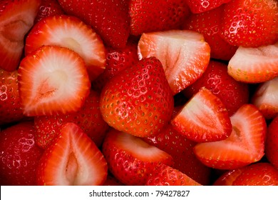 Background texture of sliced strawberries.