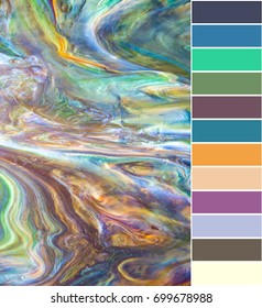 Background texture of stained glass with extracted color sample palette