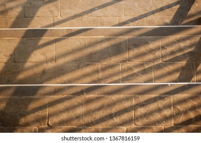 The background texture of the stone wall and the shadow.