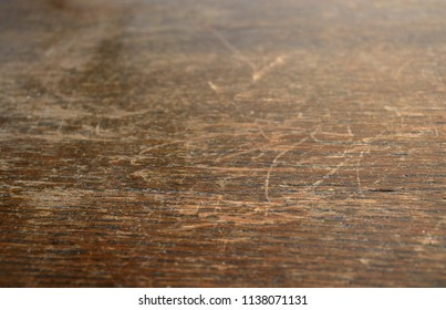 Background texture of vintage, old, dark wood with scratches.