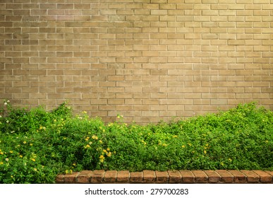 background and texture of vintage style decorative brown brick wall with Lantana camara or Cloth of gold
