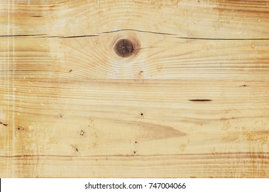 Background and texture of weathered yellow wooden planks, aged hardwood flooring top view backdrop as copy space