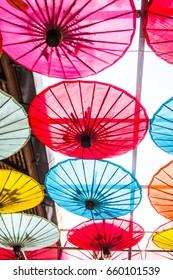 Background of Thai native umbrella, Thailand.