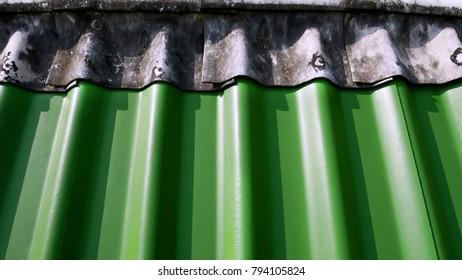 Background of Top of Green Gypsum Rooftop Tiles