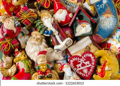 Background - Top view of Christmas decorations.