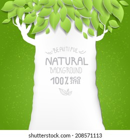 Background with tree. Eco style. Place for text. Raster version.