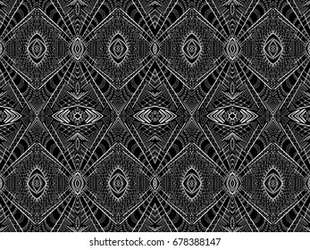Background tribal abstract. Simple ethnic aztec style ornament. Black and white texture for fabric design, interior, wallpapers, fashion textile, printed products and other.