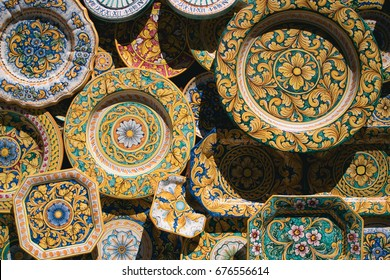 Background of Typical Sicilian ceramic plates