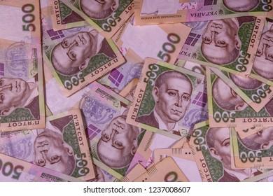Background of ukrainian five hundred hryvnas banknotes
