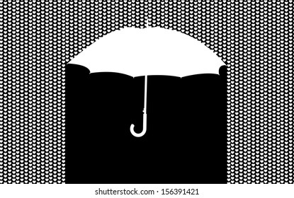 background with umbrella in the heart rain