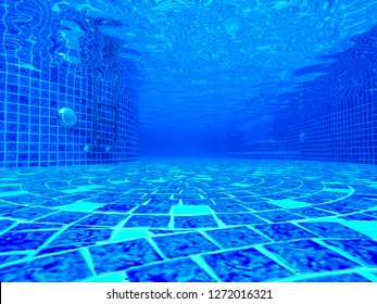 background' The under pools ladder empty blue water transparent tiles blend ocean