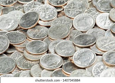 A Background of United States Dime Coins Close up
