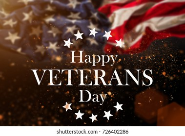 Background with united States Flag. Veterans Day Concept.