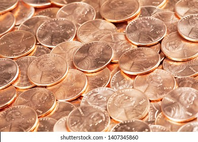 A Background of United States penny Coins Close up