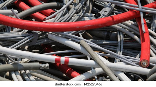 background of used electrical wires at collection center